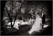 Bride and groom in black and white photo